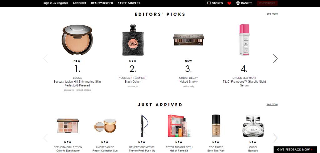 Sephora Homepage bottom